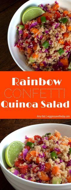 Rainbow Confetti Quinoa Salad (vegan, gluten free, healthy)