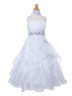 Flower girl dress white satin with ruffled skirt by CreativeCabral