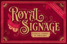 Royal Signage is a font inspired by beautiful vintage sign art and lettering. The font comes with special uppercase letters and 38 alternate characters to give your designs an elegant and artistic look. It is perfect for logo and packaging design, short p…