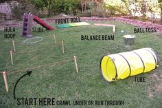 Cheap Outdoor Games For Kids Obstacle Course Ideas Backyard Obstacle Course, Kids Obstacle Course, Summer Activities, Toddler Activities, Outdoor Games For Toddlers, Family Activities, Kids Outdoor Activities, Field Day Activities, Party Activities