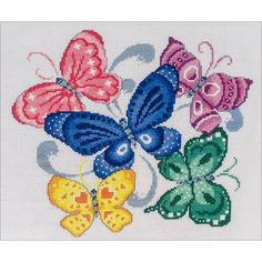 """IMAGINATING: """"Spring Butterflies"""" counted cross stitch kit. Five butterflies, with unique patterns and colors in flight. Finished size: 9.25"""" x 10"""" - Kit includes: 14 ct Aida fabric, cotton thread, ch"""