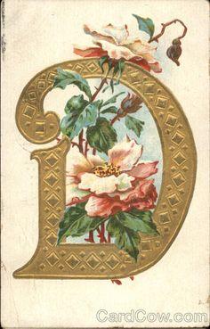 Letter D with Flowers Alphabet Letters