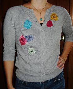 Anthro Inspired Cardigan | Wardrobe Re Fashion  I love Anthro knock-offs and this one is truly sweet. The copy version of the original is actually quite close to the original and so easy to do - and you get to go nuts with the sewing machine making the flowers!