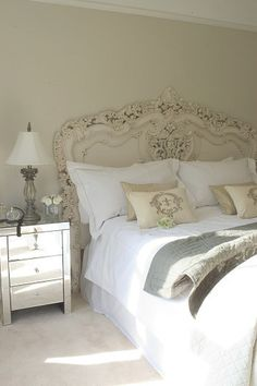 Gorgeous rococo carved headboard | Designer Dominique ᘡղbᘠ