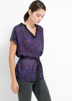 Blusa estampado gaze -  Mulher   MANGO Outlet Portugal