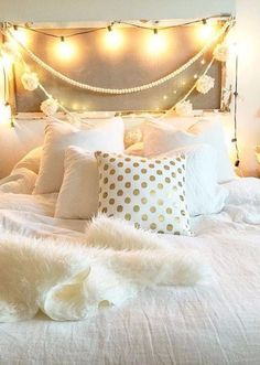 Luminous Dots Pillow | Pinned by topista.com Gold Room Decor, Gold Rooms, Gold Bedroom, Teen Bedroom, Bedroom Decor, Bedroom Curtains, Bedroom Ideas, Gold Bedding, White Bedding