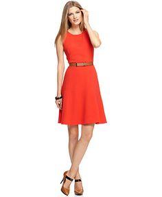 Calvin Klein Dress, Sleeveless Belted Seamed A-Line - Womens Dresses - Macy's