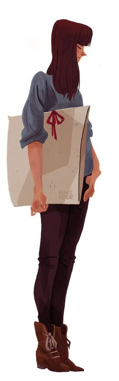 girl with a portfolio - illustration by maike plenzke #art