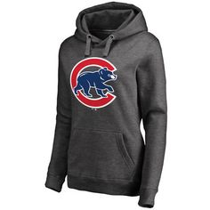 Women's Charcoal Chicago Cubs Primary Logo Pullover Hoodie