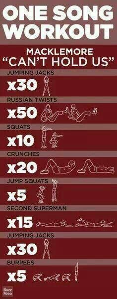One song workout...3 reps to equal 3 rounds for a good workout! Do this cycle to any music, 3-4 times, and add x10 push-ups after the crunches, maybe even a 30 second plank at the end of the cycle. That makes for a great workout