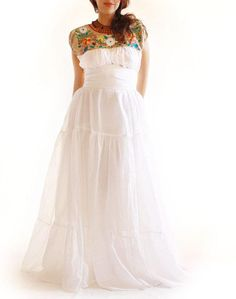 Blanca Mexican Embroidered Wedding Dress unique bohemian romantic maxi dress on Etsy, $402.12 AUD