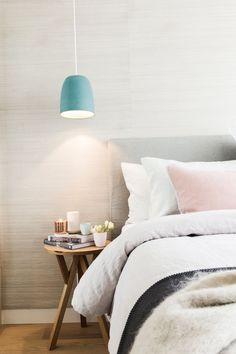Bedroom pendant light l Linen bedhead l Seagrass wallpaper l The Block Triple Threat: Week 1 Room Reveals