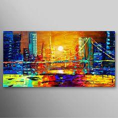 La Ciudad en todo su esplendor Pintura al oleo con espatula