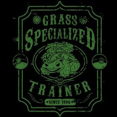 Grass Specialized Trainer T-Shirt $12.99 Pokemon tee at Pop Up Tee!