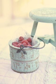 basket & stool in favorite color. raspberries.