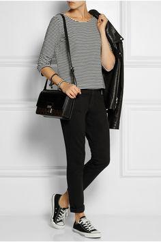 Stripe top, black jeans