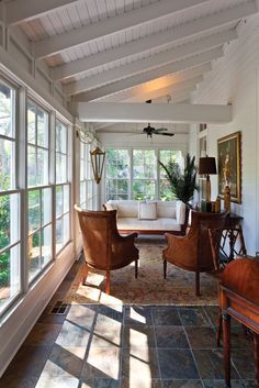 How cozy! Indoor porch with tiled floor and lots of natural light.: via How cozy! Indoor porch with tiled floor and lots of natural light.: via Mobile Bay Magazine Four Seasons Room, Enclosed Porches, Front Porches, Porch Roof, Porch Wall, Porch Ceiling, Ceiling Windows, Screen For Porch, Porch And Patio