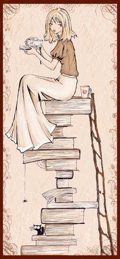 books, tea, and a cat.