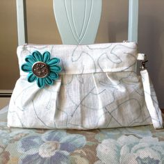 Cotton/Linen Pleated Zipper Clutch with removable strap and flower by Teebags.