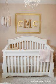 Gold framed monogram for girl nursery
