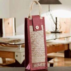 Ethnik Handcrafted Pink Bottle Cover of Recycled Jute #Handcrafted Jute Bottle Cover