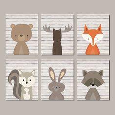 Boy Nursery Decor Woodland Nursery Wall Art Woodland Animals