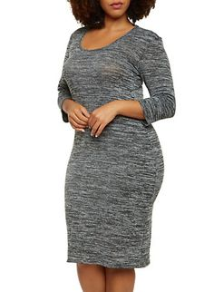 d480a38b5a1 Plus Size Midi Dress with Long Sleeves