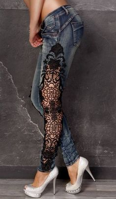 Ideas Fashion Diy Ideas Clothes Lace How To Wear Lace Clothing Lace is a Denim Fashion, Fashion Women, Fashion Outfits, Fashion Trends, Fashion Ideas, Fashion Images, Fashion Fashion, Look 80s, Mode Hippie