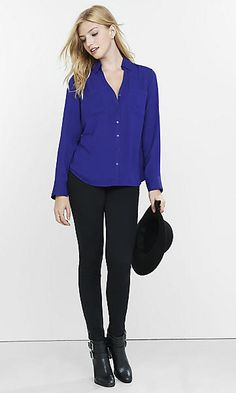 Love these shirts and this color blue! The heels are a little clunky