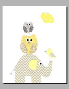 Nursery Art Decor, Kids Wall Art, Gray and Yellow Nursery, Baby Decor, Elephant, Owl, Bird, Yellow, Gray, Georgia's Friends, 8x10 Print by vtdesigns on Etsy https://www.etsy.com/listing/115218501/nursery-art-decor-kids-wall-art-gray-and