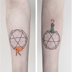 minimal tattoo of the little prince with the fox