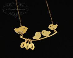 Mama Bird Baby Bird Necklace . Gold Bird Necklace . Three Initial . Personalized Mother's Necklace . 3 Little Birds . Mom Gifts.Grandma Gift. $46.00, via Etsy.