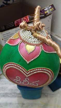 8519989457 call/msg for orde r Indian Wedding Centerpieces, Desi Wedding Decor, Wedding Stage Decorations, Wedding Crafts, Festival Decorations, Flower Decorations, Kalash Decoration, Thali Decoration Ideas, Coconut Decoration
