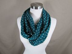 Infinity Scarf in Blue and White Polka Dot Print Handmade Lightweight Scarf Spring Scarf Summer Scarves