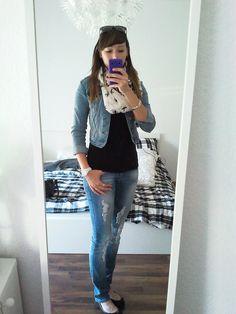 Casual Look #4 Jacke, Top - HM Schal - DefShop Jeans - MisterLady Jeans Ballerinas - Deichmann Armband - Pimkie Uhr - ICE-Watch