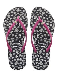 Havaianas Women's Slim Sunny Black and Pink Flip Flops * Details can be found by clicking on the image.