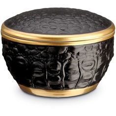 L'Objet Crocodile Round Box ($65) ❤ liked on Polyvore featuring home, home decor, office accessories, gold, round box, colored boxes and handmade box