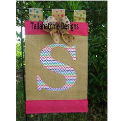 Burlap Rainbow Chevron Initial Garden Flag by TallahatchieDesigns