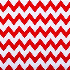 """APT3-40 Red & White Chevron Stripe Fabric is 44"""" - 45"""" wide and 100% cotton. Incorporate fun, colorful patterns into your home decor using this fun red and white chevron-striped fabric. With its bright, beautiful, unique pattern, this fabric will make beautiful pillow covers, drapes, curtains, and so much more!    CARE INSTRUCTIONS: Machine wash, cold; tumble dry. Do not bleach.    Available in 1-yard increments. Average bolt size is approximately 9 yards. Price displayed ..."""