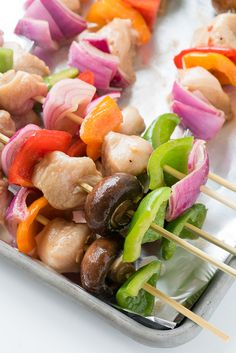 Easy Grilled Chicken Shish Kabobs. Marinated chicken and vegetables make colorful shish kabobs grilled up in 10 minutes. - BoulderLocavore.com