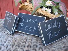 Blackboard Wedding sign Rustic Chalkboard Sign for Buffet, Table Numbers, Place cards, Shabby Chic Wedding Decor - Set of 3 Signs
