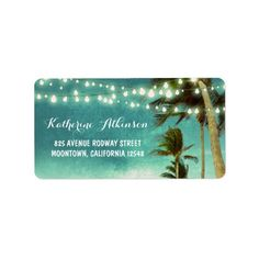 Tropical Palm Trees Twinkling Lights ombre Beach Hawaiian Destination WEDDING Return address labels stickers    #wedding #tropical #beach