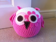 Crocheted owl doorstop. I just love making these!