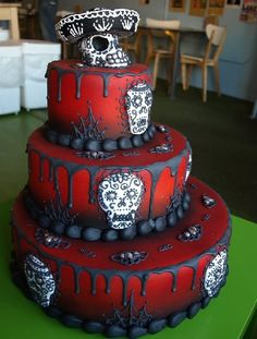gorgeous day of the dead cake!  I need to find someone who is good at sculpting with fondant or marzipan