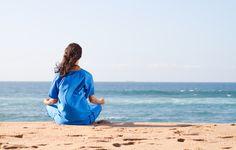 Фото обои море, йога, девушка, relax