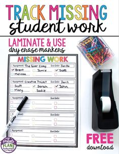Keep track of missing student work by using this free classroom management form. Simply laminate the form, attach it to your desk, and use a dry erase marker to write which students need to submit work. When the assignment comes in, check off their name Teacher Organization, Teacher Tools, Teacher Hacks, Teacher Resources, Organized Teacher, Teaching Ideas, Student Teaching, Teacher Stuff, Teachers Toolbox