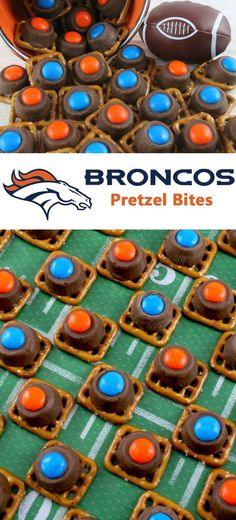 Make these for your Superbowl party! Easy to make Denver Broncos Pretzel Bites are yummy bites of sweet and salty Football Game Day goodness.