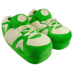 Green and White Go Happy Feet Slippers