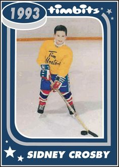 A five year old Sidney Crosby shows off his early hockey skills as a Tim Hortons Timbit Hockey player. I'd love to find this card!!!!!!