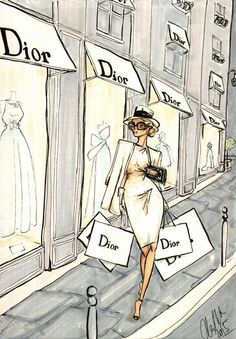 Dior shopping by Alex Douglas Newton illustration